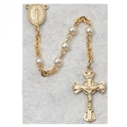 3MM GOLD PEARL ROSARY