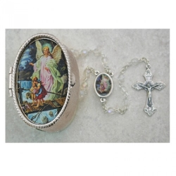 GUARDIAN ANGEL CRYSTAL ROSARY W/BOX