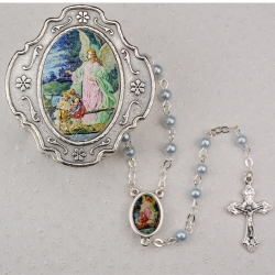 GUARDIAN ANGEL BLUE ROSARY W/BOX
