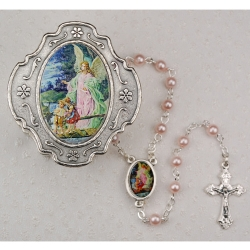 GUARDIAN ANGEL PINK ROSARY W/BOX