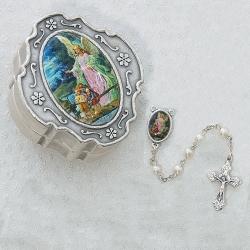 GUARDIAN ANGEL PEARL ROSARY W/BOX