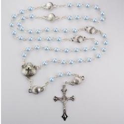 BLUE PEARL SHELL BABY ROSARY/BOX