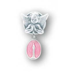 Praying Angel Pin with a Sterling Silver Pink Enameled Baby Miraculous Medal