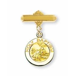14KT Gold over Sterling Silver Baby Holy Baptism Medal on a 14KT Gold Plated Bar Pin