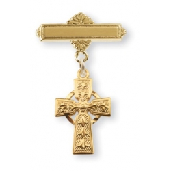 14KT Gold Over Sterling Silver Baby Celtic Cross on a 14KT Gold Plated Bar Pin