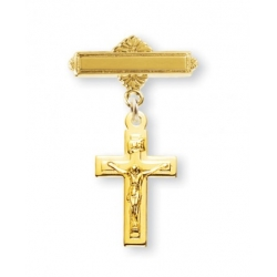 14KT Gold Over Sterling Silver Baby Crucifix On A 14KT Gold Plated Bar Pin