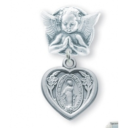 Praying Angel Pin with a Sterling Silver Miraculous Medal