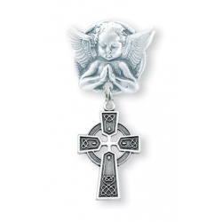 Praying Angel Pin with a Sterling Silver Baby Celtic Cross