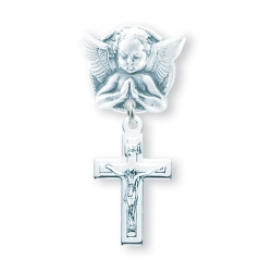 Praying Angel Pin with a Sterling Silver Baby Cross