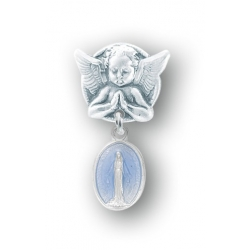 Praying Angel Pin with a Sterling Silver Blue Enameled Baby Miraculous Medal