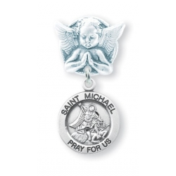 Praying Angel Pin with a Sterling Silver Saint Michael Medal