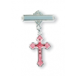 Sterling Silver Pink Flower Enameled Baby Cross Pin