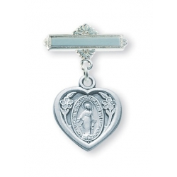 Sterling Silver Heart Shaped Baby Miraculous Medal Pin