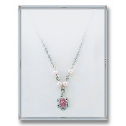 4mm Pink Swarovski Pearls with Sterling Silver Pink Enamel Miraculous Pendant 18