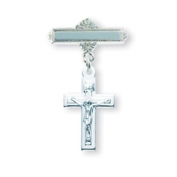 Sterling Silver Plain Crucifix Baby Pin