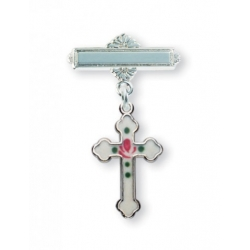 Sterling Silver White Flower Enameled Baby Cross Pin