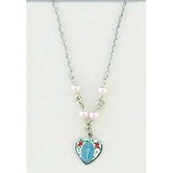 4mm Pink Swarovski Pearl Pendant with Sterling Silver Enameled Heart Miraculous Medal 18