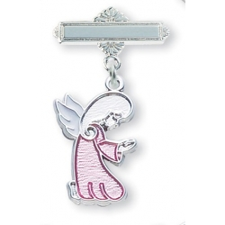 Sterling Silver Pink Enameled Praying Angel Pin
