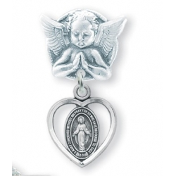 Praying Angel Pin with a Sterling Silver Baby Miraculous Medal