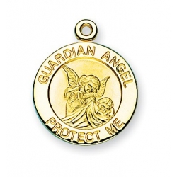 Gold over Sterling Silver Round Shaped Guardian Angel Medal