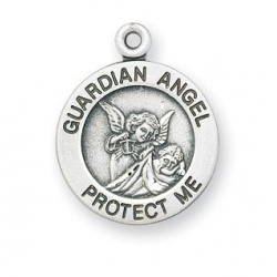 Sterling Silver Round Shaped Guardian Angel Medal