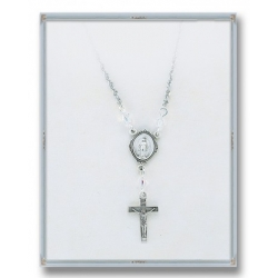 4mm Swarovski Crystal Pendant with Sterling Silver Miraculous Medal and Crucifix 18