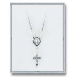 4mm White Swarovski Pearl Pendant with Sterling Silver Miraculous Medal and Crucifix 18