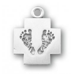 Sterling Silver Cross with Feet 18