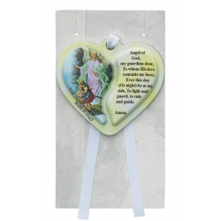 GUARDIAN ANGEL HEART CRIB MEDAL