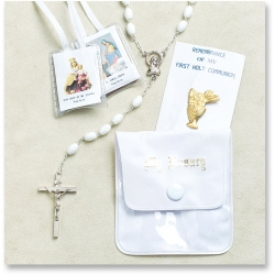 WHITE FIRST COMMUNION ROSARY SET