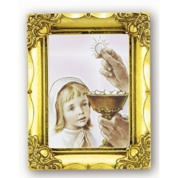 COMMUNION GIRL ANTIQUE GOLD FRAME