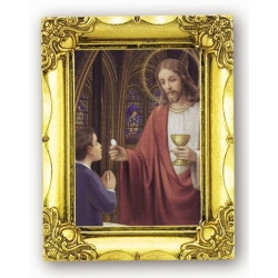 COMMUNION BOY ANTIQUE GOLD FRAME