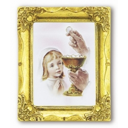 FIRST COMMUNION GIRL ANTIQUE GOLD FRAME