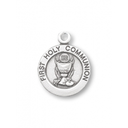 PEWTER FIRST COMMUNION ROUND PENDANT