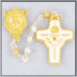 4MM SILVER CUBED BEAD COMMUNION ROSARY