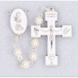 WHITE PEARL COMMUNION ROSARY W/ ENAMELED CTR/CRUCIFIX