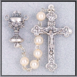 WHITE PEARL BEAD COMMUNION ROSARY
