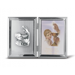 SILVER PLATE COMMUNION BOY FRAME