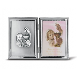 SILVER PLATE COMMUNION GIRL FRAME