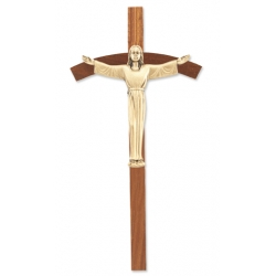 WALNUT CROSS WITH ANTIQUED GOLD RISEN CHRIST CORPUS