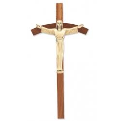 WALNUT CROSS WITH ANTIQUED GOLD RISEN CHRIST CORPUS
