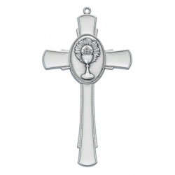 WHITE ENAMELED CHALICE CROSS