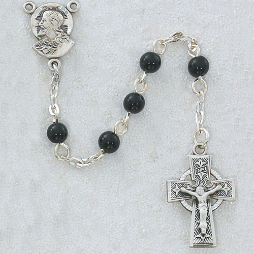 5MM BLACK GLASS ROSARY PEWTER CELTIC