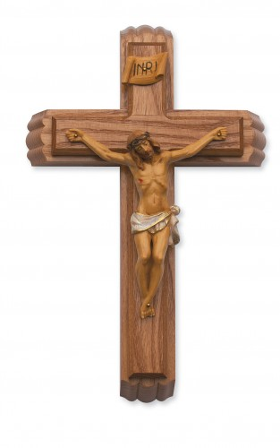 "12"" WALNUT STAIN SICK CALL SET CRUCIFIX"