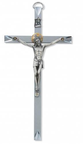 "10"" BRIGHT CUT METAL CRUCIFIX"