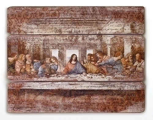 "26""L LAST SUPPER PLAQUE PLANK STYLE MDF"