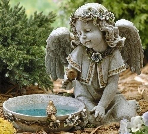 """11"""" SOLAR ANGEL BIRD BATH"""