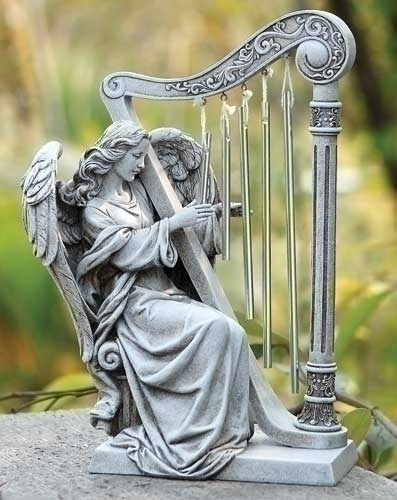 "10"" ANGEL WITH HARP CHIMES"