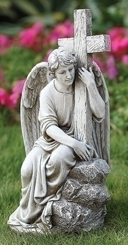 "13"" SEATED MALE ANGEL W/CROSS"