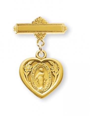 14KT Gold Over Sterling Baby Miraculous Medal on a 14KT Gold Plated Bar Pin